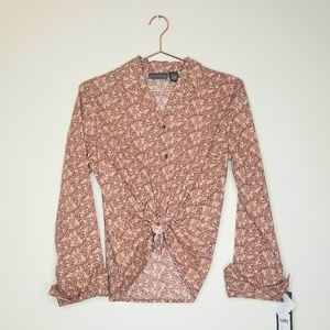 NWT Vintage Relativity 》 Floral Button Front Top